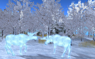 Winter landscapes with flickering animal statues