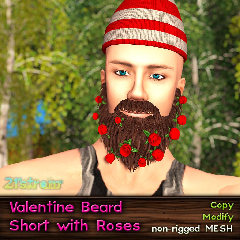 Valentine Short Mesh Beard with Roses